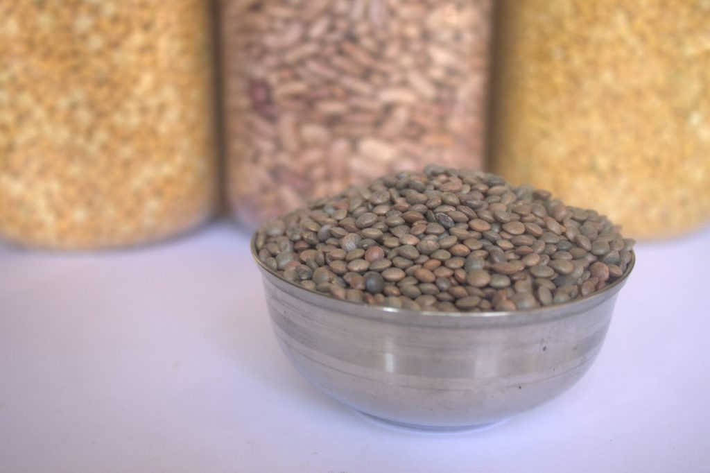 Bowl of brown lentils
