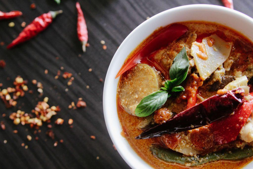 White bowl of chili sauce